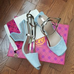 Tory Burch blue steel heels